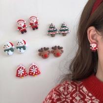 Cute Style Santa Claus/Elk/Snowman Shaped Christmas Stud Earrings