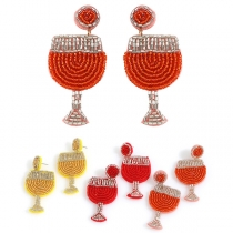 Bohemian Style Braided Wine Glass Shaped Stud Earrings