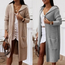 Fashion Solid Color Long Sleeve Hooded Front-pocket Loose Knit Cardiagn