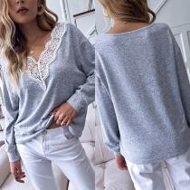 Fashion Lace Spliced V-neck Long Sleeve Loose T-shirt