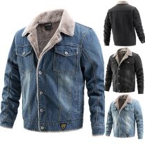 Fashion Long Sleeve POLO Collar Plush Lining Man's Denim Coat