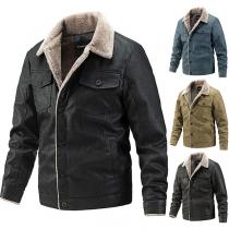 Fashion Long Sleeve POLO Collar Plush Lining Single-breasted Man's PU Leather Coat
