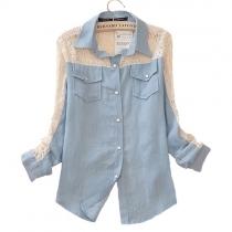 Ocio Dulce Retro Crochet Lace Spliced Denim T-shirt