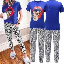 Fashion Leopard Printed Short Sleeve T-shirt + Pants Two-piece Set