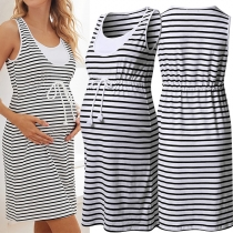 Casual Style Sleeveless Round Neck Drawstring Waist Striped Maternity Dress