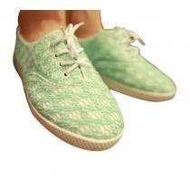Dulce del cordón verde empalmadas Zapatos de cordones